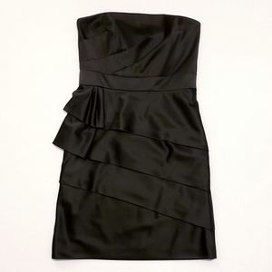 WHBM Black Satin Strapless Tiered Ruffle Dress, 8